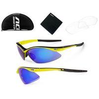 Accent 610-40-92_acc okulary  shadow żółte fluoro-czarne, 2 pary soczewek: niebieskie lustrzane, przezroczy