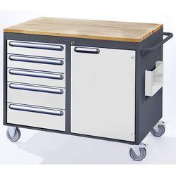 Rau Stół warsztatowy, ruchomy, 5 szuflad, 1 drzwi, blat roboczy z drewna, antracytow