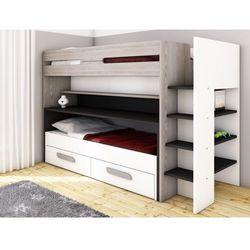 Vente-unique Łóżko piętrowe david - 90x190/200 cm - schowki, łóżko i przesuwne biurko - sosna w kolorze szarym, białym i antracytowym