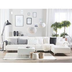 Sofa modułowa rozkładana skóra ekologiczna biała lewostronna otomana ABERDEEN, kolor biały