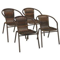 Krzesła ogrodowe 4 szt. metalowe, plecione krzesło na balkon brąz zestaw mix