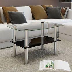 Szklany stolik kawowy z półką
