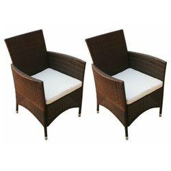 Elior Vidaxl krzesła ogrodowe, 2 szt., polirattan, brązowe