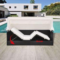 leżak z zadaszeniem, regulowany, polirattan, czarny marki Vidaxl