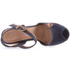 Tom tailor  buty na koturnie niebieski brązowy 41