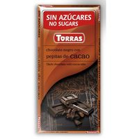 Czekolada gorzka z ziarnami kakao, bez cukru, bezglutenowa 75g (8410342006004)