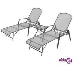 Vidaxl zestaw 2 regulowanych leżaków i stolika, metalowa siatka (8718475503323)