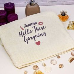 Mygiftdna Hello gorgeous - ręcznik z haftem - ręcznik