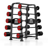 Zestaw sztang gumowanych 10-55 kg ze stojakiem  - czerwony marki Marbo sport