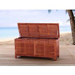 Kufer - skrzynia - ogrodowa - drewniana - na poduchy - toscana marki Beliani
