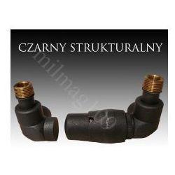 Zestaw zaworów grzejnikowych termostatycznych LUX prawy Czarny Strukturalny (zawór i głowica ogrzewania)