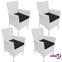 Vidaxl krzesła ogrodowe, 4 szt., rattan pe, śmietankowe (8718475552338)