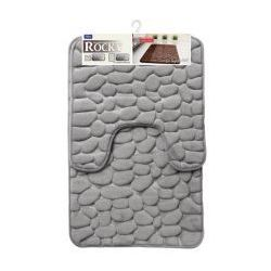 GALICJA Rocky Dywanik łazienkowy 2 elementy 50 x 50 cm 50 x 80 cm memory foam pianka pamięć kształtu szary 6242