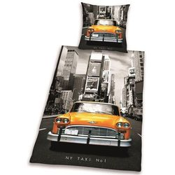 Dekoria Komplet pościeli New York Taxi, poszwa 140 × 200 cm, poszewka 70 × 90 cm