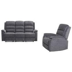 Sofa 3-osobowa i fotel z tkaniny z elektryczną funkcją relaksu NEVERS - Antracytowa