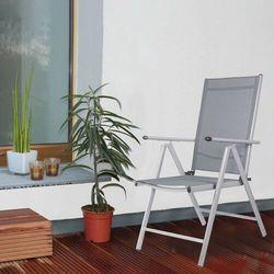 Springos Składane krzesło ogrodowe metalowe szare na balkon