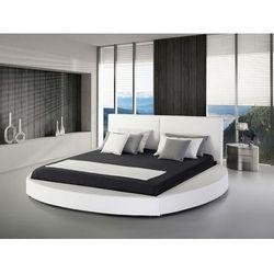 Nowoczesne łóżko skórzane białe - 180x200cm - ze stelażem - LAVAL