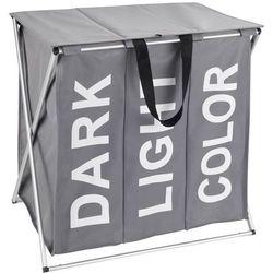 Praktyczny kosz na pranie trio top, kolor szary, pojemność 118 litrów, 3 komory na pranie, składany, marka marki Wenko