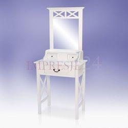Stylowa toaletka z serii Meridian, szuflady z metalowymi uchwytami, lustro, matowa biel.