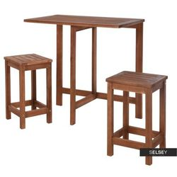 Selsey zestaw mebli ogrodowych survival stół i dwa taborety na balkon (5903025235974)