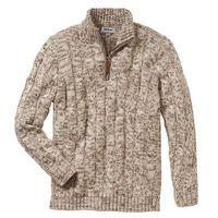 Sweter ze stójką regular fit  beżowy melanż, Bonprix, S-XXL