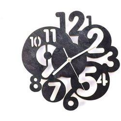 Drewniany zegar na ścianę Abstrakcja z białymi wskazówkami (5907509932441)
