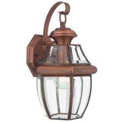 Quoizel Zewnętrzna lampa ścienna newbury qz/newbury2/m ac elstead ogrodowa oprawa kinkiet vintage ip44 miedź przezroczysty (5024005344919)