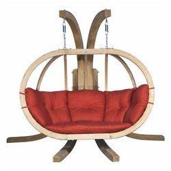 Fotel wiszący drewniany ze stojakiem - Bubble Double Wood Red