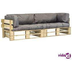 vidaXL Ogrodowe sofy z palet, 2 szt., drewno FSC z szarymi poduszkami (8718475715672)