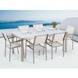 Beliani Stół szklany biały - 180 cm - z 6 białymi krzesłami - grosseto (7105279288487)