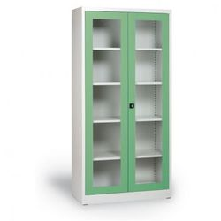 B2b partner Szafa ze szklanymi drzwiami, 1950x920x400 mm, szaro-zielona
