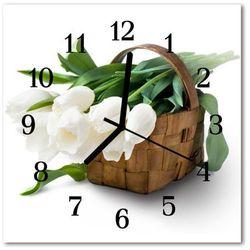 Zegar szklany kwadratowy Koszyk tulipanów