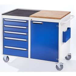 Rau Stół warsztatowy, ruchomy,5 szuflad, 1 drzwi, blat roboczy z drewna / metalu