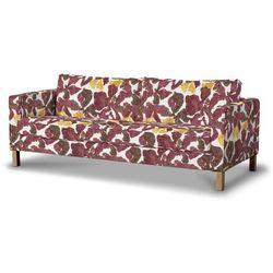 Dekoria Pokrowiec na sofę Karlstad 3-osobową nierozkładaną, krótki, żółto-brązowe kwiaty, Sofa Karlstad 3-osobowa, Wyprzedaż do -30%