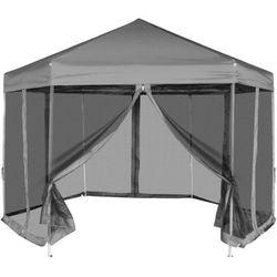 Vidaxl  namiot ogrodowy sześciokątny z 6 panelami bocznymi szary 3,6x3,1 m (8718475973676)