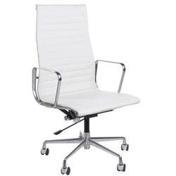 D2.design Fotel biurowy ch1191 inspirowany ea119 skóra, chrom - biały (5902385710251)