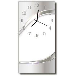 Zegar Szklany Pionowy Sztuka Abstrakcja linie biały, kolor biały