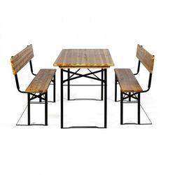Ogrodowy zestaw piwny z oparciami - 2x ława, 1x stół