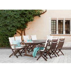 Stół + 8 krzeseł z podłokietnikami + 8 beżowych poduszek - maui od producenta Beliani