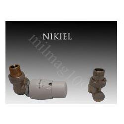 Zestaw zaworów grzejnikowych termostatycznych MASTER lewy NIKIEL (zawór i głowica ogrzewania)