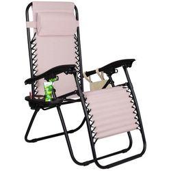 Leżak zero gravity z zagłówkiem jasny - beżowy \ gc0002 marki Springos