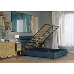 Łóżko 120x200 tapicerowane bergamo + pojemnik + materac sawana lazurowe marki Big meble