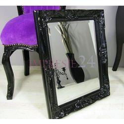 Design by impresje24 Lustro w czarnej, drewnianej ramie, ornamenty, styl rustykalny.