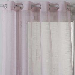 Nowoczesna zasłona na przelotkach w różowym kolorze, gotowa zasłona z delikatnie prążkowanej tkaniny (3560238918753)