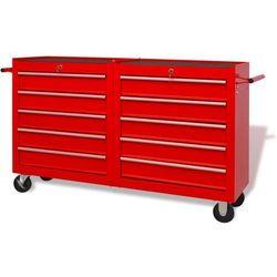 Wózek narzędziowy z 10 szufladami, stalowy, czerwony