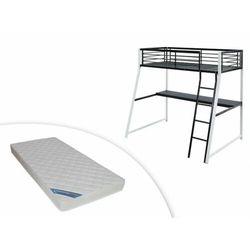 Łóżko antresola MALICIA - miejsce do spania 90 × 190 - Wbudowane biurko narożne - kolor czarny i biały + materac ZEUS 90 × 190