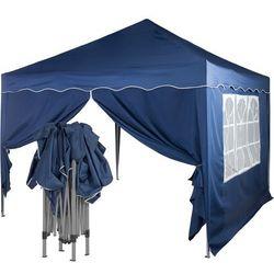 Ekspresowy niebieski pawilon namiot ogrodowy 3x3 m + 2 ścianki - niebieski (odcień granatowy) marki Instent ®