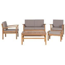 Meble ogrodowe brązowe - stół + 2 fotele + ławka + hoker - MANILA, kolor szary