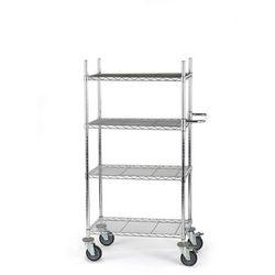 Wózek stołowy z kraty drucianej, chromowany,z 4 piętrami