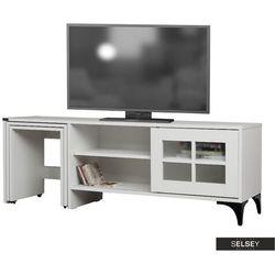 szafka rtv hills 150 cm biała z wysuwanymi stolikami marki Selsey